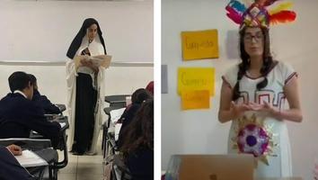 ¡Pasión por la enseñanza! Janet, la maestra de historia que se disfraza para dar clases en línea