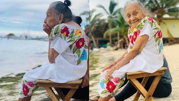 Bisabuelita visita por primera vez el mar y conmueve a las redes sociales