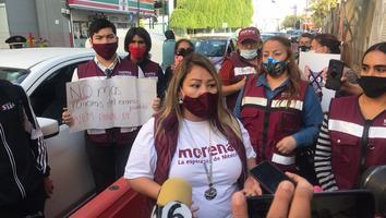 """Protestan militantes de Morena contra la coalición """"Juntos Haremos Historia por Nuevo León"""""""