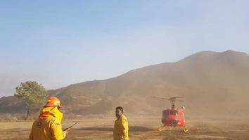Combate Protección Civil incendio en la sierra de Rayones